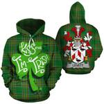 Levett Family Crest Ireland National Tartan Kiss Me I'm Irish Hoodie