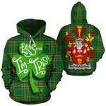 Hanraghan Family Crest Ireland National Tartan Kiss Me I'm Irish Hoodie