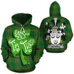 Meares Family Crest Ireland National Tartan Kiss Me I'm Irish Hoodie