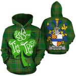 Norreys Family Crest Ireland National Tartan Kiss Me I'm Irish Hoodie