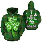 Butcher Family Crest Ireland National Tartan Kiss Me I'm Irish Hoodie