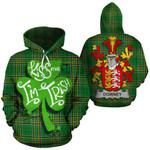 Downey Family Crest Ireland National Tartan Kiss Me I'm Irish Hoodie