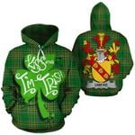 Umfre Family Crest Ireland National Tartan Kiss Me I'm Irish Hoodie