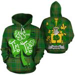 Woods Family Crest Ireland National Tartan Kiss Me I'm Irish Hoodie