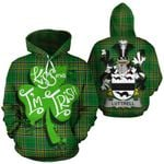 Luttrell Family Crest Ireland National Tartan Kiss Me I'm Irish Hoodie