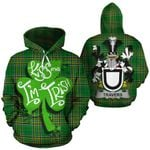 Travers Family Crest Ireland National Tartan Kiss Me I'm Irish Hoodie