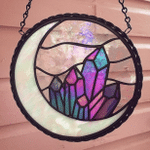 Amethyst Crystal Moon Suncatcher