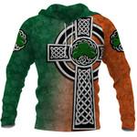 Irish Celtic Cross Hoodie Shamrock | 1stIreland