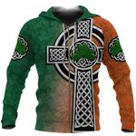 Irish Celtic Cross Zip Hoodie Shamrock K4