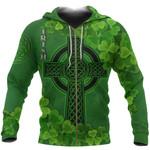 Ireland Zip Hoodie Irish Celtic Cross Shamrock TH5