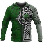Irish Celtic Cross Zip Hoodie Ireland Shamrock TH45