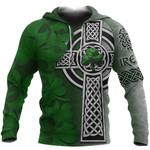 Irish Celtic Cross Hoodie Ireland Shamrock TH45
