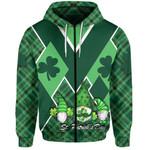 St. Patrick's Day Ireland Gnome Zip-Hoodie Shamrock