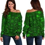Ireland Women Off Shoulder Sweater Irish Saint Patrick Day Celtic Cross