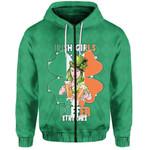 (Custom Personalised) Patrick's Day Zip Hoodie Irish Girl Shamrock  | 1stIreland