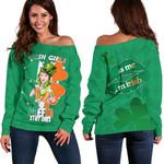 Patrick's Day Off Shoulder Sweater Irish Girl Shamrock  | 1stIreland