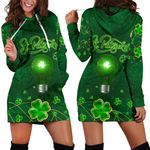 Patrick's Day Women Hoodie Dress Shamrock Vibes
