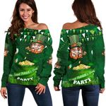 Patrick's Day Women Off Shoulder Sweater Shamrock Festival Style