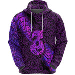 Aotearoa Maori Hoodie Silver Fern Manaia Vibes - Purple K36