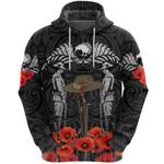 Anzac Day Lest We Forget Poppy Hoodie New Zealand Maori Vibes - Black K8