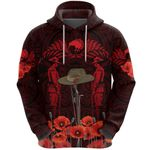 Anzac Day Lest We Forget Poppy Hoodie New Zealand Maori Vibes - Red K8