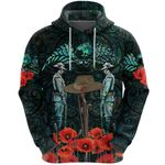 Anzac Day Lest We Forget Poppy Hoodie New Zealand Maori Vibes - Paua Shell K8