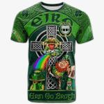 1stIreland Ireland T-Shirt - House of O'HIGGIN Crest Tee - Irish Shamrock with Claddagh Ring Cross A7