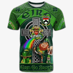 1stIreland Ireland T-Shirt - House of O'TIERNEY Crest Tee - Irish Shamrock with Claddagh Ring Cross A7
