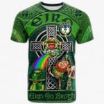 1stIreland Ireland T-Shirt - House of O'BEIRNE Crest Tee - Irish Shamrock with Claddagh Ring Cross A7