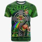 1stIreland Ireland T-Shirt - McMorris or McMoresh Crest Tee - Irish Shamrock with Claddagh Ring Cross A7