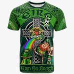 1stIreland Ireland T-Shirt - Wirley Crest Tee - Irish Shamrock with Claddagh Ring Cross A7