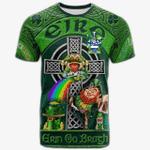 1stIreland Ireland T-Shirt - Nevins or McNevins Crest Tee - Irish Shamrock with Claddagh Ring Cross A7
