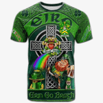 1stIreland Ireland T-Shirt - Levinge or Levens Crest Tee - Irish Shamrock with Claddagh Ring Cross A7