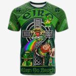 1stIreland Ireland T-Shirt - Haly or O'Haly Crest Tee - Irish Shamrock with Claddagh Ring Cross A7