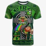 1stIreland Ireland T-Shirt - House of O'CONNOR (Sligo) Crest Tee - Irish Shamrock with Claddagh Ring Cross A7