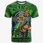 1stIreland Ireland T-Shirt - Brabazon Crest Tee - Irish Shamrock with Claddagh Ring Cross A7