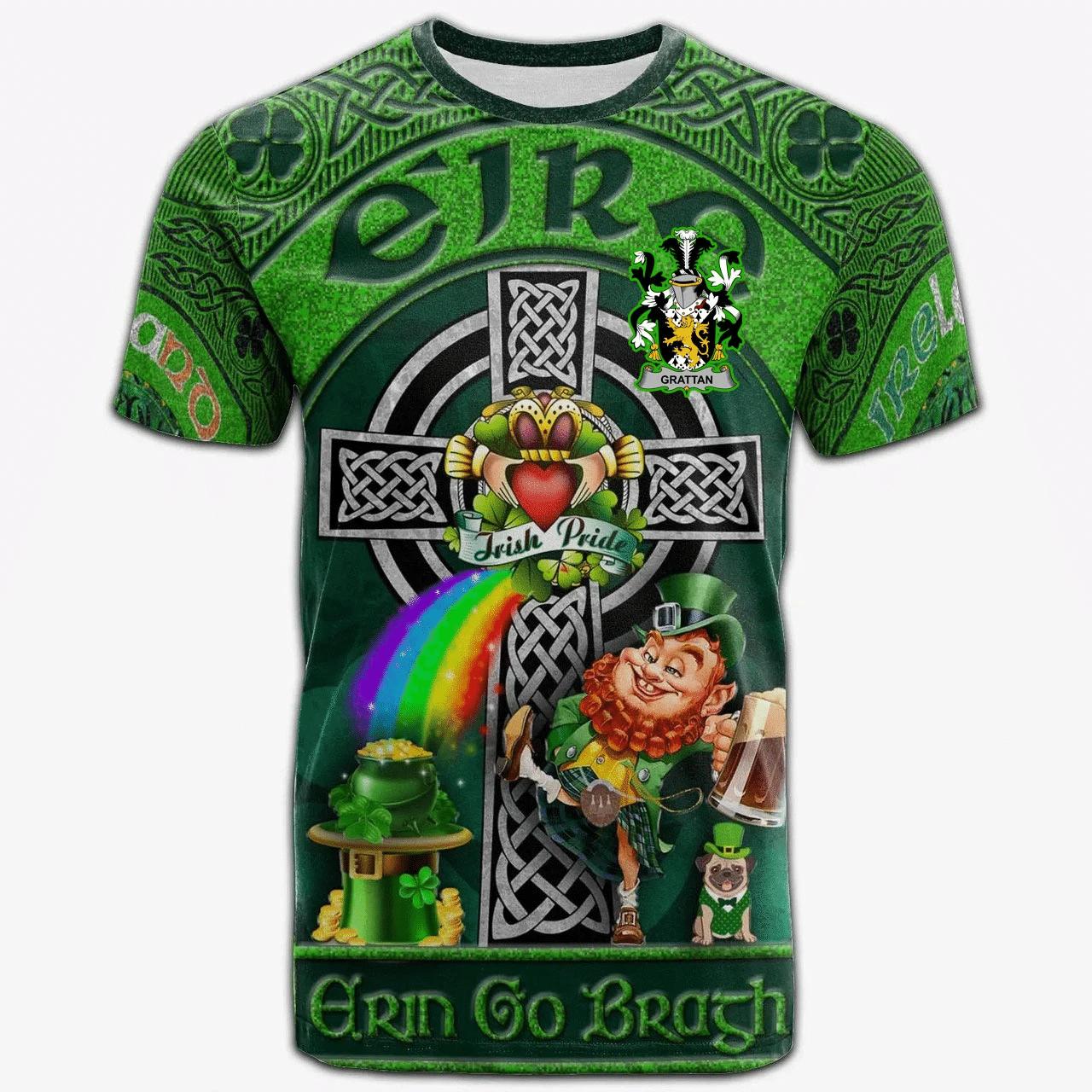 1stIreland Ireland T-Shirt - Grattan or McGrattan Crest Tee - Irish Shamrock with Claddagh Ring Cross A7