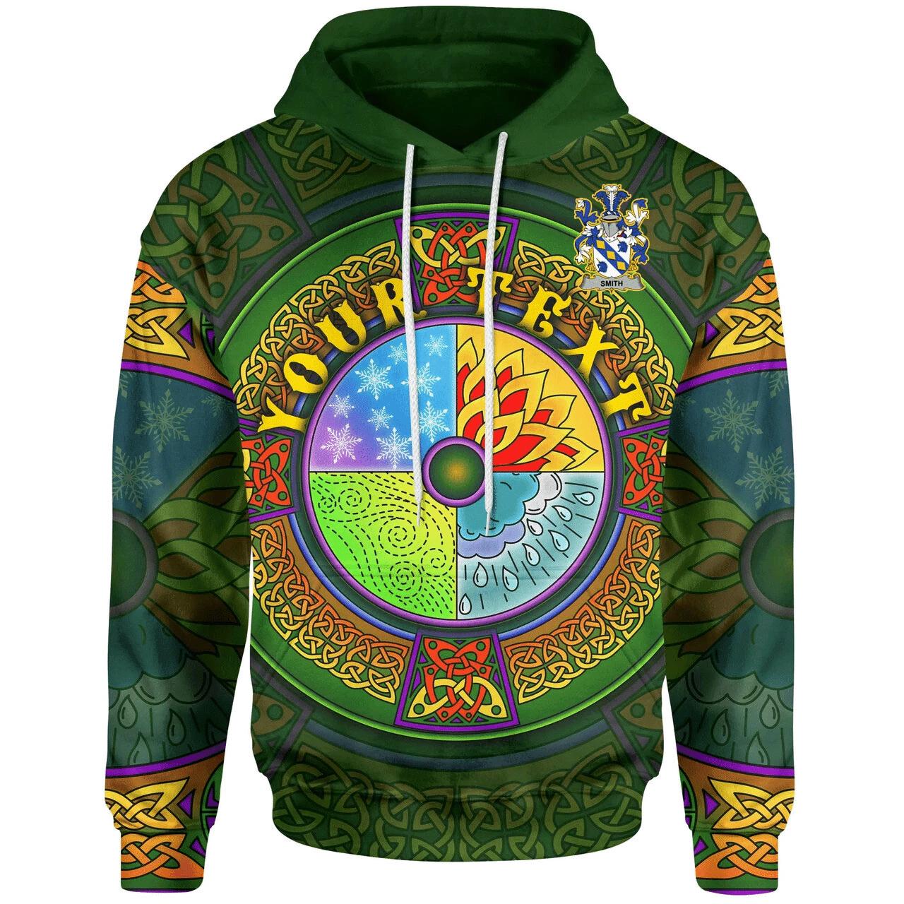 (Custom) 1stIreland Ireland Hoodie - Smith or Smyth Irish Family Crest Hoodie - Celtic Element A7