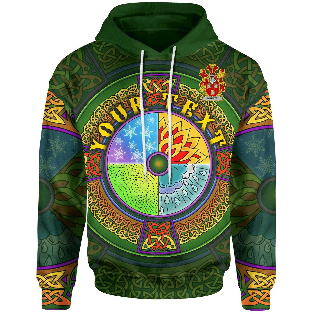 (Custom) 1stIreland Ireland Hoodie - Minnitt Irish Family Crest Hoodie - Celtic Element A7