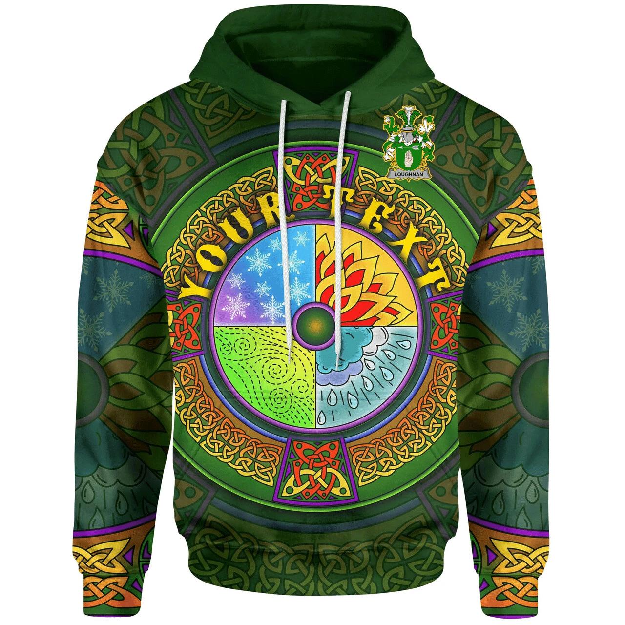 (Custom) 1stIreland Ireland Hoodie - Loughnan or O'Loughnan Irish Family Crest Hoodie - Celtic Element A7