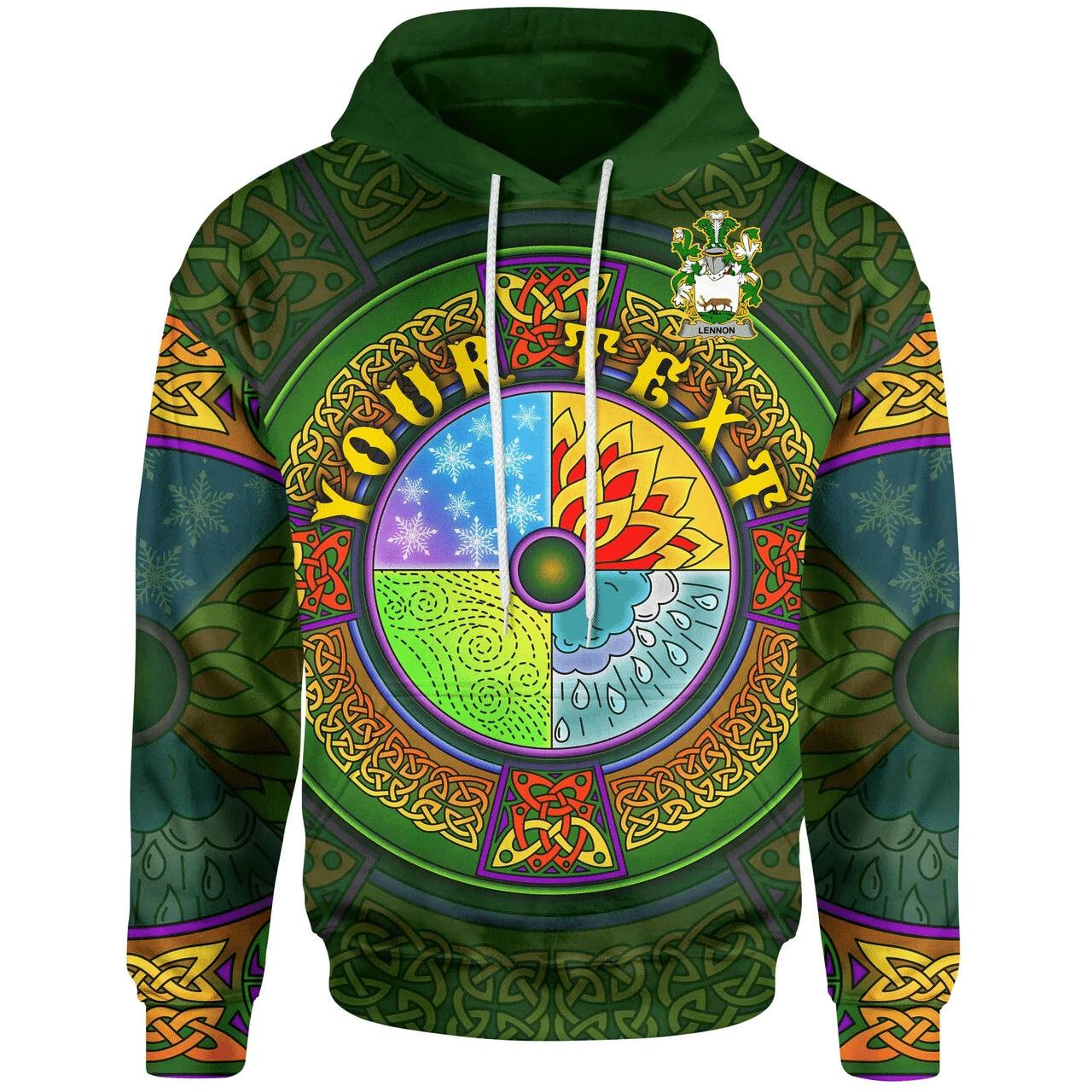 (Custom) 1stIreland Ireland Hoodie - Lennon or O'Lennon Irish Family Crest Hoodie - Celtic Element A7
