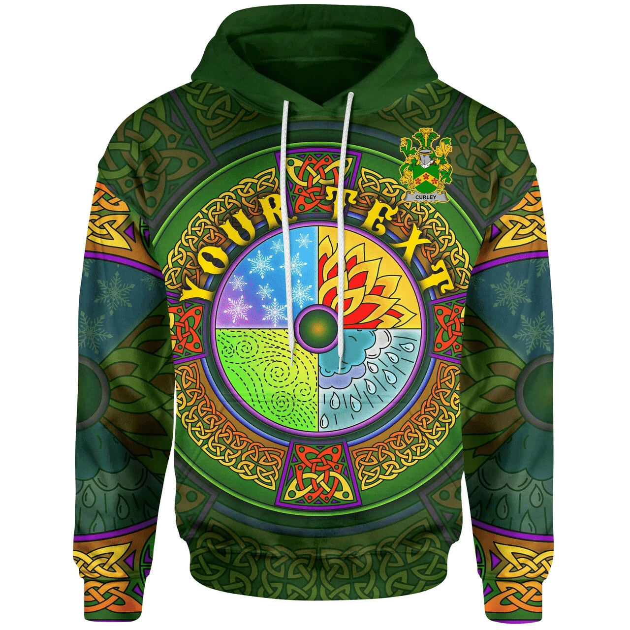 (Custom) 1stIreland Ireland Hoodie - Curley or McTurley Irish Family Crest Hoodie - Celtic Elements A7