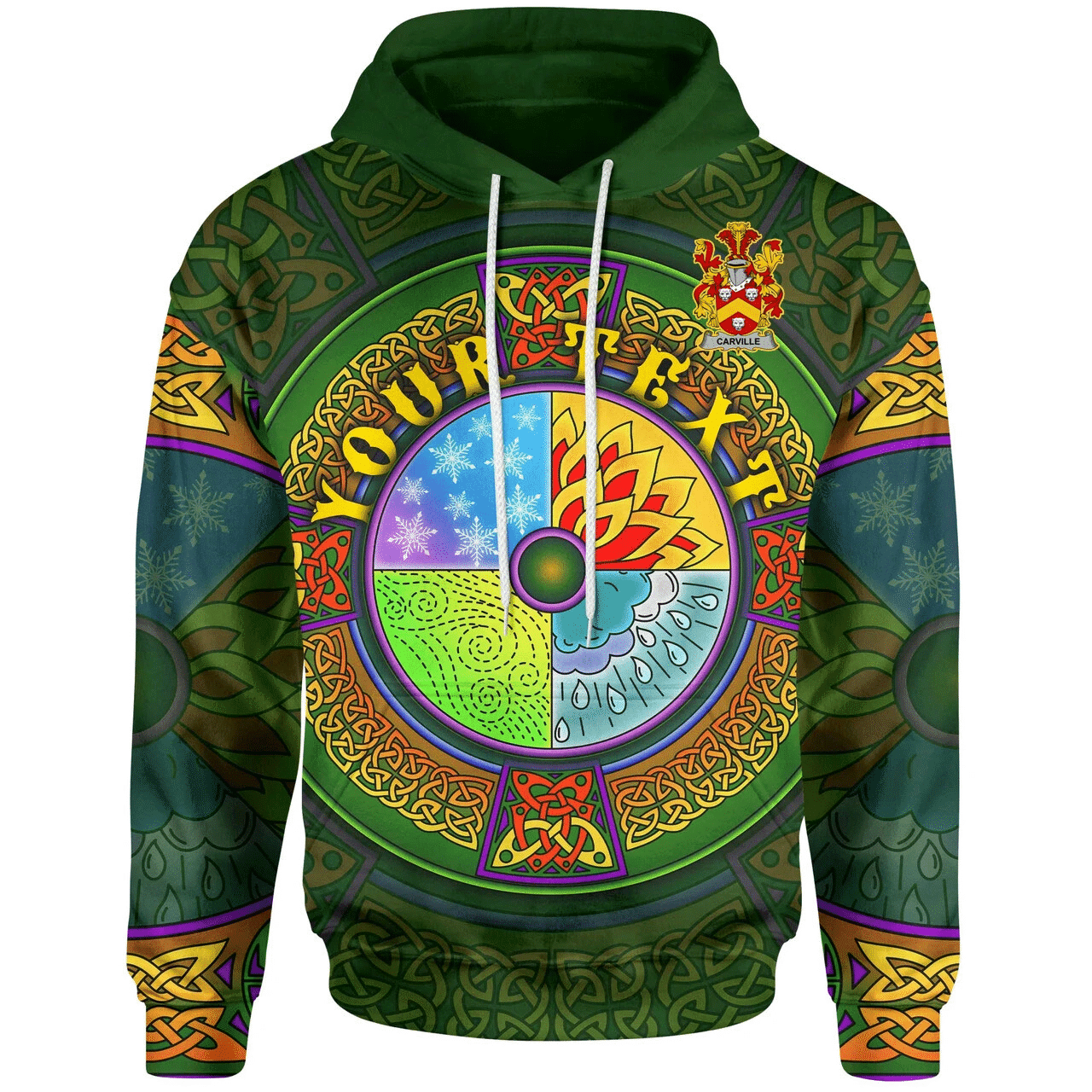 (Custom) 1stIreland Ireland Hoodie - Carville or McCarville Irish Family Crest Hoodie - Celtic Elements A7