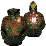 1stIreland Ireland Hoodie - Davoren or O'Davoren Irish Family Crest Hoodie - Tree Of Life A7