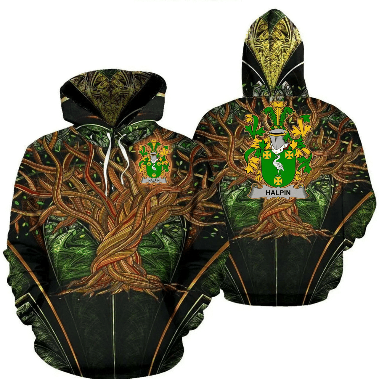 1stIreland Ireland Hoodie - Halpin or O'Halpin Irish Family Crest Hoodie - Tree Of Life A7