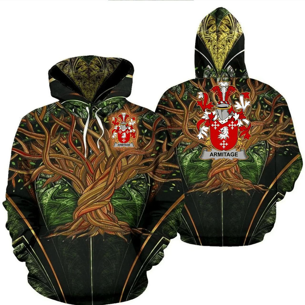 1stIreland Ireland Hoodie - Armitage Irish Family Crest Hoodie - Tree Of Life A7