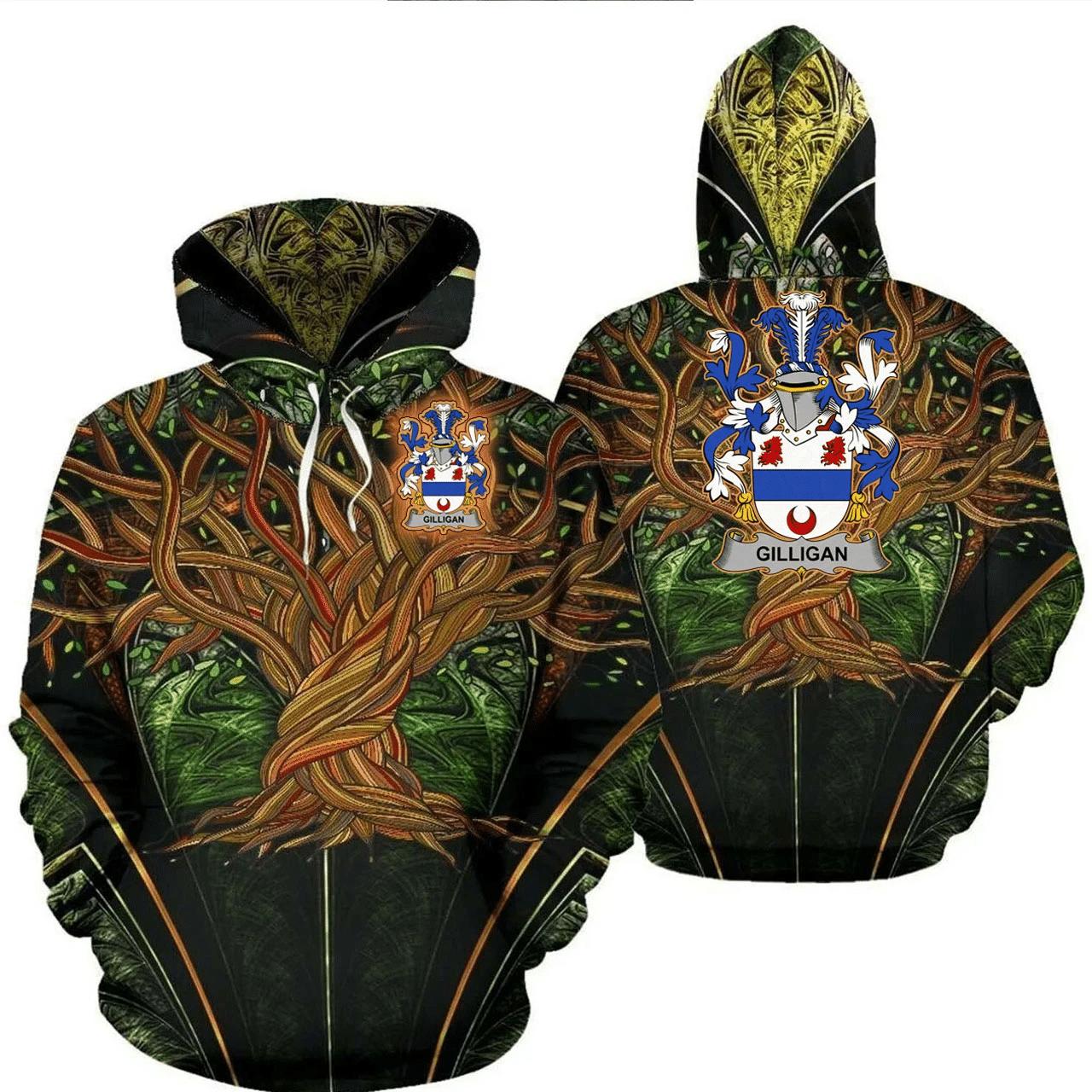 1stIreland Ireland Hoodie - Gilligan or McGilligan Irish Family Crest Hoodie - Tree Of Life A7
