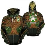 1stIreland Ireland Hoodie - HawkinsIII Irish Family Crest Hoodie - Tree Of Life A7
