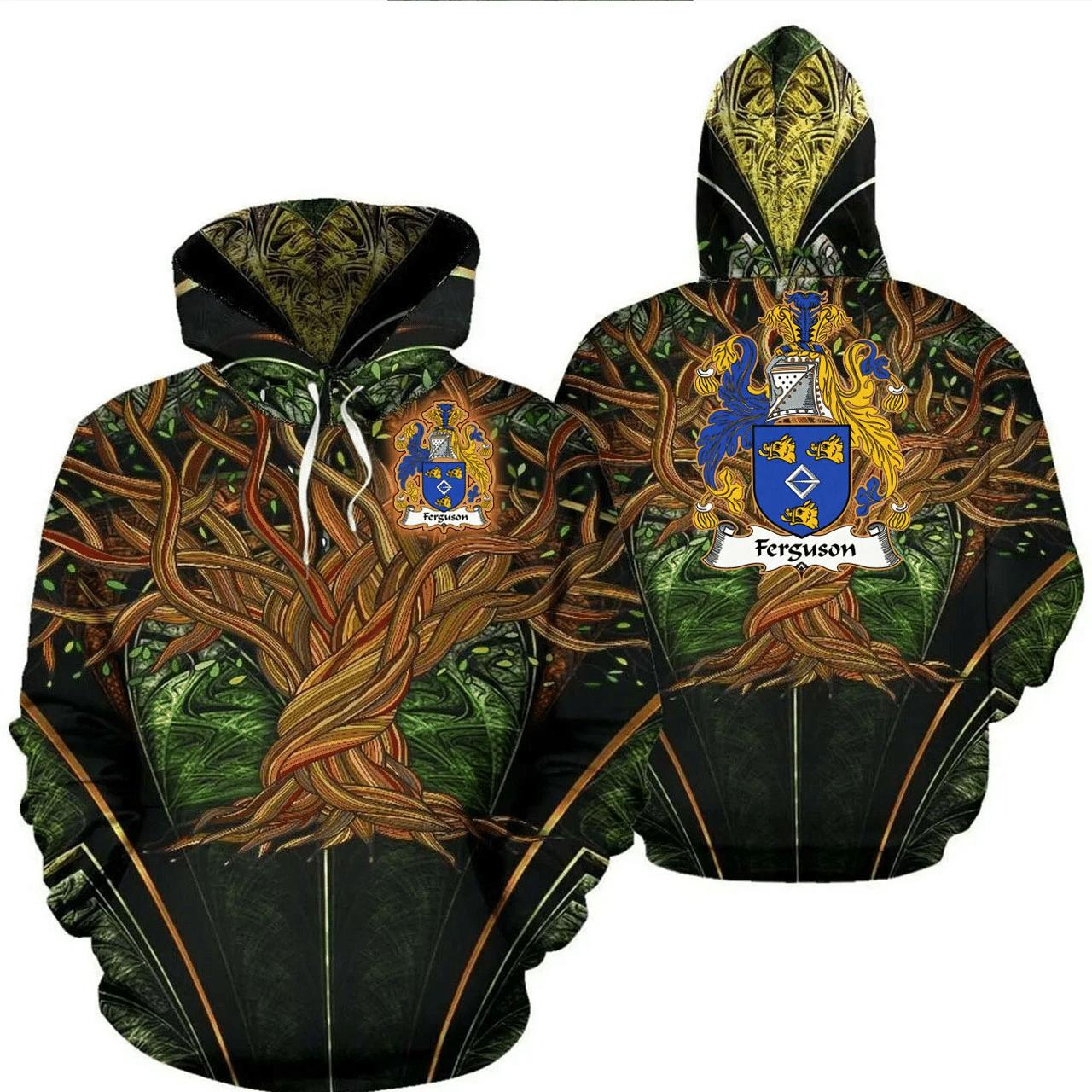 1stIreland Ireland Hoodie - Ferguson Irish Family Crest Hoodie - Tree Of Life A7