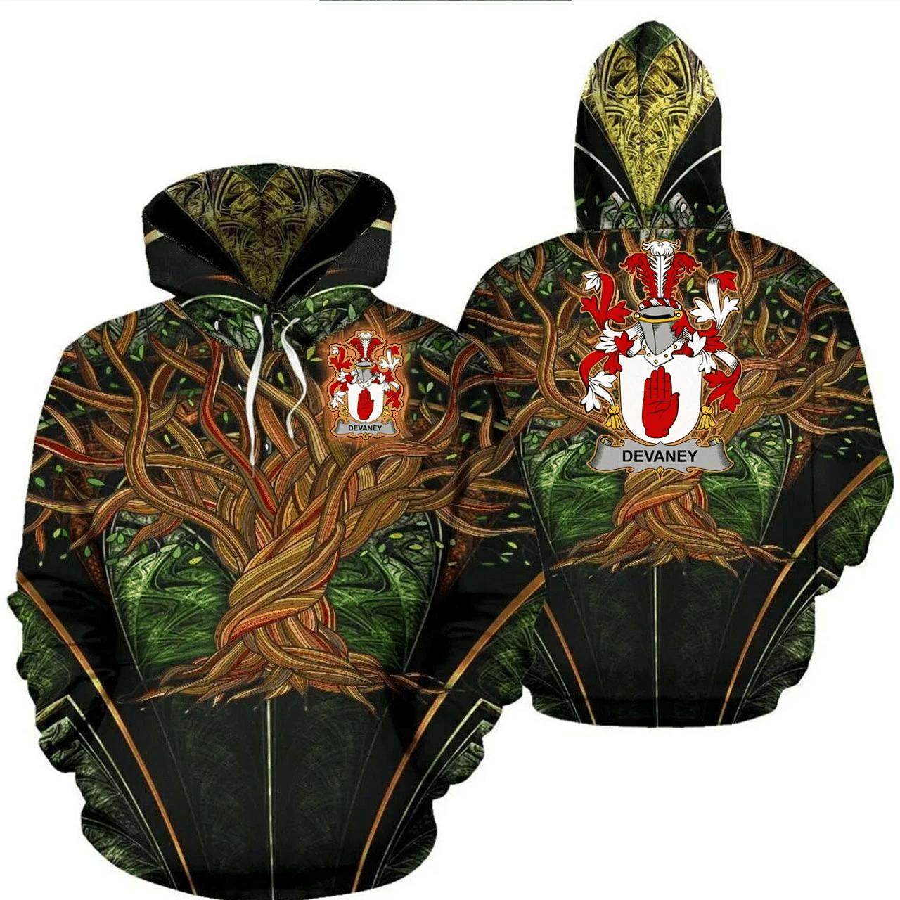 1stIreland Ireland Hoodie - Devaney or O'Devaney Irish Family Crest Hoodie - Tree Of Life A7